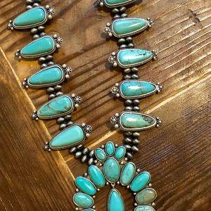 Jewelry - Turquoise Squash Blossom Necklace. Genuine Stones.